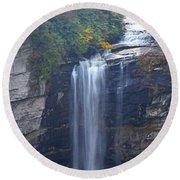 Raven Cliff Falls #2 Round Beach Towel by Alan Lenk