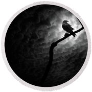 Raven, Death Valley Round Beach Towel by Marius Sipa