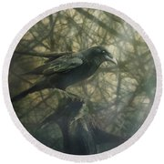 Raven Forest Round Beach Towel