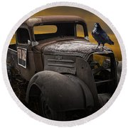 Raven Hood Ornament On Old Vintage Chevy Pickup Truck Round Beach Towel