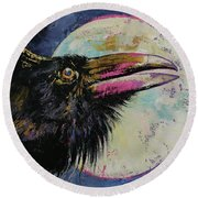 Raven Moon Round Beach Towel by Michael Creese