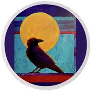 Round Beach Towel featuring the painting Raven Moon by Nancy Jolley