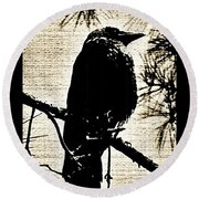 Raven On The Lookout Round Beach Towel