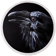 Raven Portrait Round Beach Towel