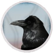 Raven Profile Round Beach Towel