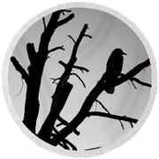 Raven Tree II Bw Round Beach Towel