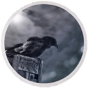 Raven Twilight Round Beach Towel