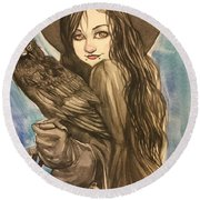 Raven Witch Round Beach Towel