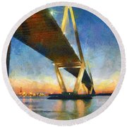 Ravenel Bridge Round Beach Towel by Lynne Jenkins
