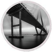 Ravenel Bridge November Fog Round Beach Towel