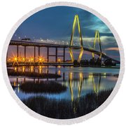 Ravenel Bridge Reflection Round Beach Towel