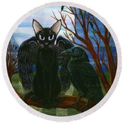 Raven's Moon Black Cat Crow Round Beach Towel