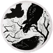 Ravens Round Beach Towel by Nat Morley