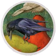 Ravens On Pears Round Beach Towel