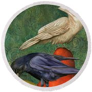 Ravens On Pears Round Beach Towel by Leah Saulnier The Painting Maniac