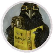 Ravens Read Round Beach Towel by Leah Saulnier The Painting Maniac