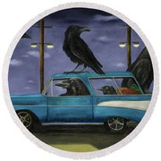 Ravens' Ride Round Beach Towel by Leah Saulnier The Painting Maniac