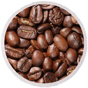 Raw Coffee Beans Background Round Beach Towel
