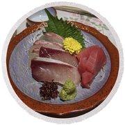 Raw Fish Sashimi Plate - Kyoto Japan Round Beach Towel