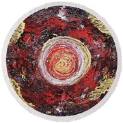 Raw Harmony Red And Gold Art Round Beach Towel