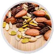 Raw Organic Nuts And Seeds Round Beach Towel