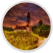 Rawley Point Lighthouse Round Beach Towel