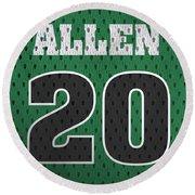 Ray Allen Boston Celtics Retro Vintage Jersey Closeup Graphic Design Round Beach Towel