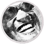 Ray Charles Bw Portrait Round Beach Towel by Mihaela Pater