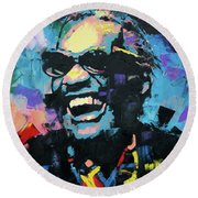 Ray Charles Round Beach Towel by Richard Day