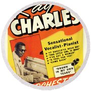 Ray Charles Rock N Roll Concert Poster 1950s Round Beach Towel