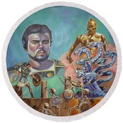 Ray Harryhausen Tribute Jason And The Argonauts Round Beach Towel by Bryan Bustard