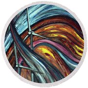 Round Beach Towel featuring the painting Ray Of Hope 2 by Harsh Malik
