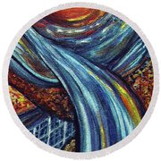 Round Beach Towel featuring the painting Ray Of Hope 3 by Harsh Malik