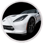Ray Of Light - Corvette Stingray Round Beach Towel by Gill Billington