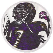 Round Beach Towel featuring the drawing Ray Rice 1 by Jeremiah Colley