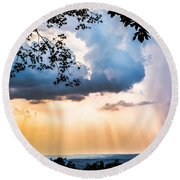 Round Beach Towel featuring the photograph Rays Of Color by Parker Cunningham