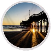 Rays Of Evening Round Beach Towel
