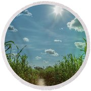 Round Beach Towel featuring the photograph Rays Of Hope by Karen Wiles
