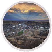 Rays Over Golden Round Beach Towel