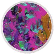 Razberry Ocean Of Butterflies Round Beach Towel