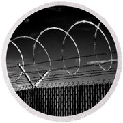 Razor Wire In The Sun Round Beach Towel