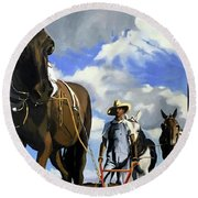 Round Beach Towel featuring the painting re by Chris Gholson