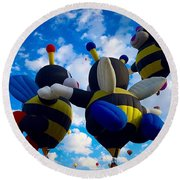Hot Air Balloon Cheerleaders Round Beach Towel