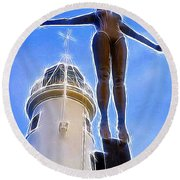 Reaching For Gold Round Beach Towel