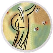 Round Beach Towel featuring the painting Reaching For The Star by Leon Zernitsky