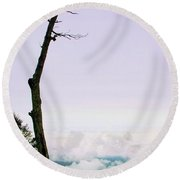 Reaching In The Shenandoah Round Beach Towel