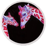 Round Beach Towel featuring the digital art Read And Black Giraffes by Jane Schnetlage