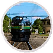 Reading 284  Train Round Beach Towel by Iconic Images Art Gallery David Pucciarelli