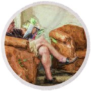 Reading At The Library Round Beach Towel by Lewis Mann