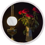 Round Beach Towel featuring the photograph Reading By Oil Lamp by Brian Roscorla